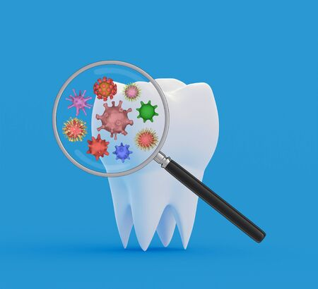 Tooth bacteria under a magnifying glass. Research and diagnosis of teeth diseases concept. Tooth with abstract viruses and bacterias under magnifier. 3d illustration