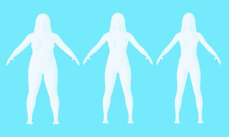 Steps of losing weight woman on blue background from fat to slim. Overweight woman before and after weight loss on white background. 3d render