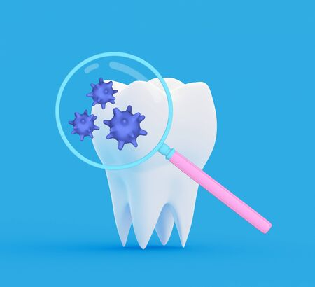 Tooth bacteria under a magnifying glass. Research and diagnosis of teeth diseases concept. Tooth with abstract bacterias under magnifier. 3d illustration