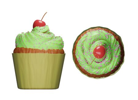 Delicious tasty cupcake with the green icing on top and cherry, ready for kids party food, Mother's Day celebration. 3d render
