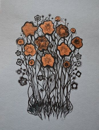 abstract bouquet of flowers, hand drawn image