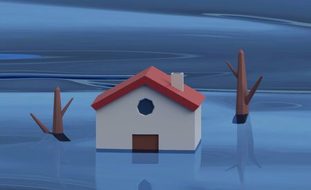 flooding house with rising water. 3d rendering