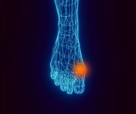 Blue contour foot and red spot of pain on a dark background. Low-poly element for medicine and orthopedics, 3d illustration Banque d'images