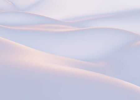 Snow-covered mountains in winter. Empty White backdrop, white hills, Background concept. 3d render