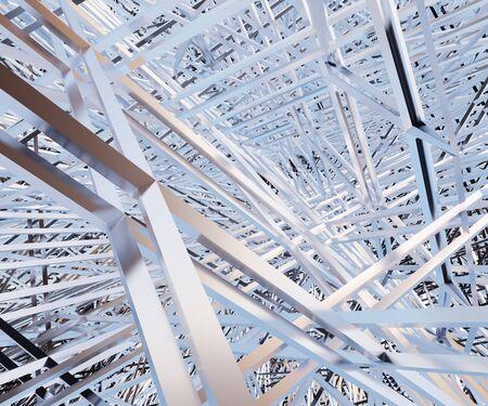 metal construction lines, metallic lines, 3d render Reklamní fotografie