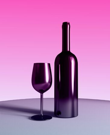 bottle and glass of red wine on table, 3d illustration 版權商用圖片