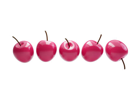 red ripe cherries in a row isolated on white. 3d illustration