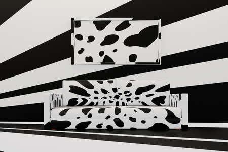 Minimalist living room with sofa and big frame. Dalmatian spots apartment design. 3D illustration Archivio Fotografico
