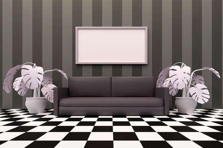Minimalist living room with sofa and big frame. Grayscale apartment design. 3D illustration Archivio Fotografico