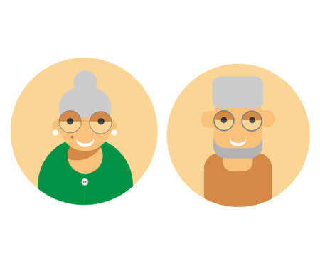 Icon of Grandmother and grandfather. Couple of older people. Vector illustration Illustration