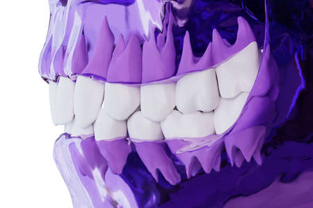 violet transparent human jaw with a teeth, side view, 3d render