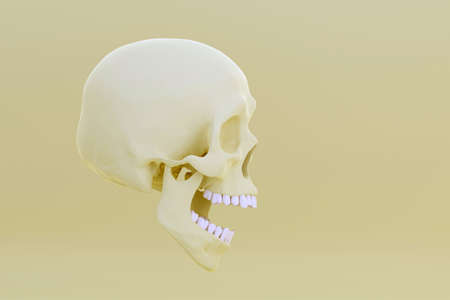 Yellow skull with open jaw in surprise, on light yellow background, side view, 3d render