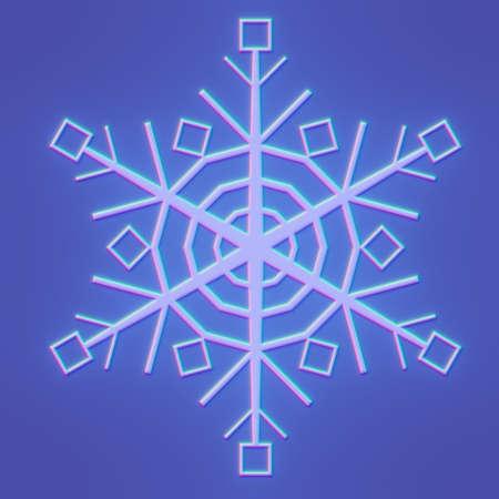 glowing blue snowflake on blue background, 3d render