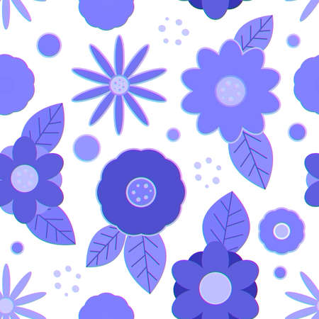 Seamless pattern with blue creative decorative flowers with gradient outline, white background Imagens