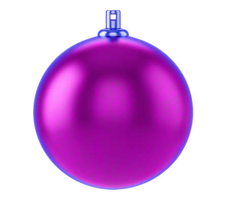 Purple textured christmas ball, Glass Christmas Tree Toy isolated on white background, 3d illustration Imagens