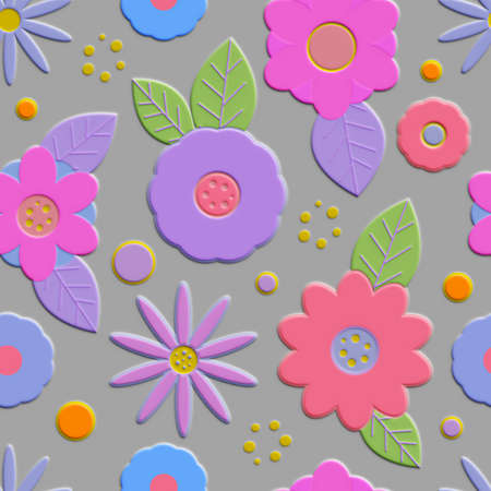 Seamless pattern with decorative volumetric convex flowers. It looks like a cardboard applique. The elegant the template for fashion prints