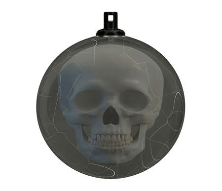 Cracked Christmas Ball with a skull inside, Broken Glass Christmas Tree Toy, depression concept, bad new year, 3d render