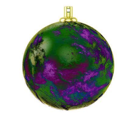 Green purple textured christmas ball, Glass Christmas Tree Toy isolated on white background, 3d illustration
