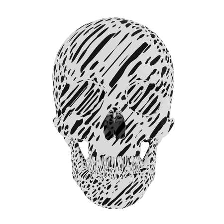 black-and-white spotted skull isolated on white background, vector