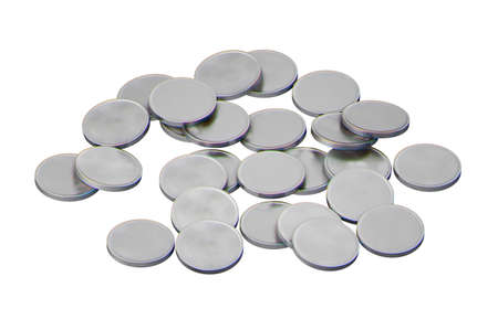 ancient silver coins with rainbow patina, universal coins without inscriptions, isolated on a white background, 3d render