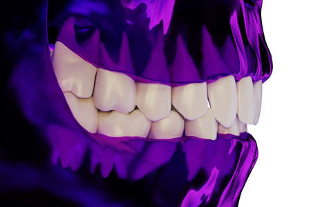 violet transparent human jaw with a teeth, side view, 3d render Stock Photo