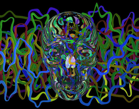 Abstract Skull Head with Worms, 3d illustration