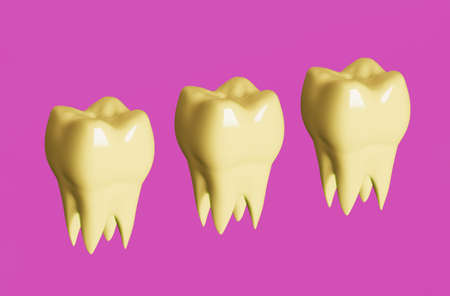 Yellow molar teeth on pink background. Minimal dental care concept. 3d illustration