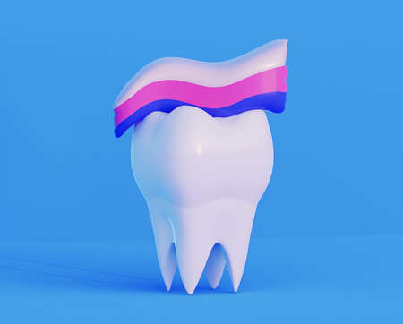 clean white healthy strong molar with toothpaste up. 3d illustration