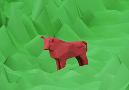 figurine of a red low poly bull on polygonal green background, a symbol of the new year 2021, 3d render