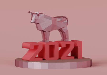 figurine of a low poly bull on a stand with the number 2021, a symbol of the new year, 3d render Stock Photo