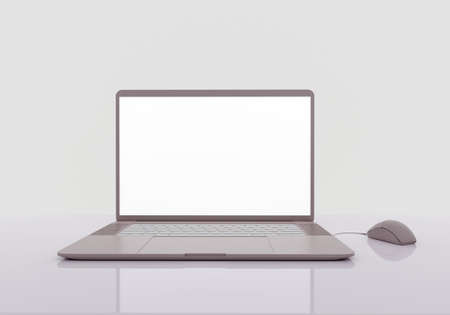 laptop on the reflective gray table, mockup monitor, work at home concept, workplace, 3d render low-poly snowflakes on gray background, 3d render
