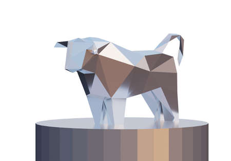 figurine of a simplified polygonal metal bull on cylinder stand, a symbol of the new year 2021, 3d render
