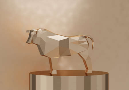 figurine of a simplified polygonal golden bull on a cylinder stand, a symbol of the new year 2021, 3d render
