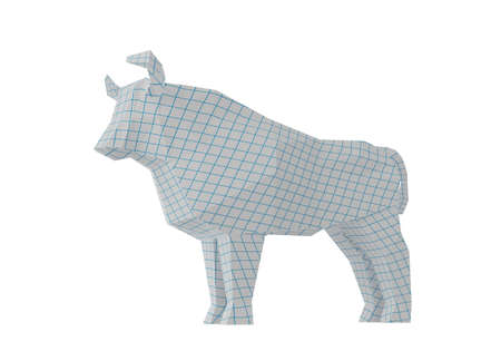 Statuette of a simplified polygonal Squared Paper Bull, folded paper animal figurine, a symbol of the new year 2021, 3d render Stock Photo