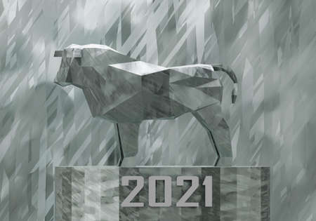 figurine of a simplified polygonal metal bull on a stand, a symbol of the new year 2021, 3d render
