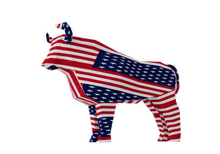 figurine of a simplified polygonal American flag Bull isolated on white, symbol of the new year 2021, 3d render