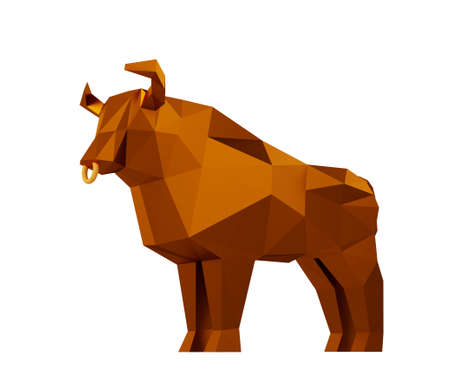 Figurine of a simplified polygonal Brown Metallic Bull isolated on white, symbol of the new year 2021, 3d render Stock Photo