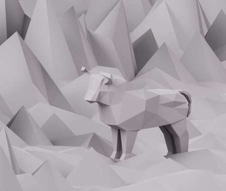Figurine of gray low poly Paper Bull on polygonal gray background, a symbol of the new year 2021, 3d render