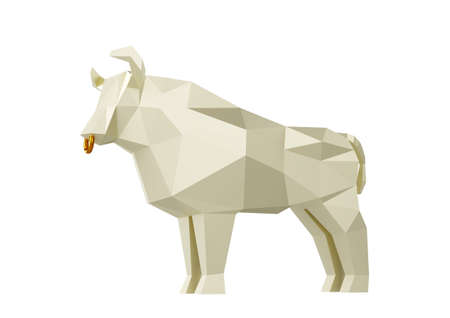 Statuette of a simplified polygonal White Paper Bull, folded paper animal figurine, a symbol of the new year 2021, 3d render Stock Photo