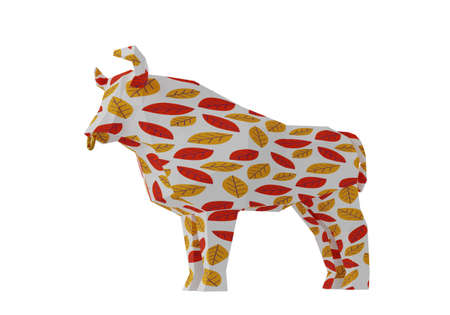 Statuette of a simplified polygonal Bull with autumn leaves ornament, folded paper animal figurine, a symbol of the new year 2021, 3d render