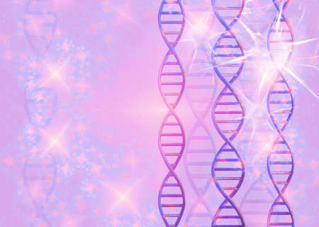 DNA molecules structures on pink background. Science and Technology, 3d render 免版税图像