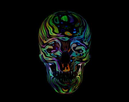 Decorative flower Skull on black background, 3d render