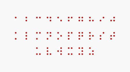 Braille dots alphabet for visually impaired. Formed out of red spheres, english alphabet, 3d render