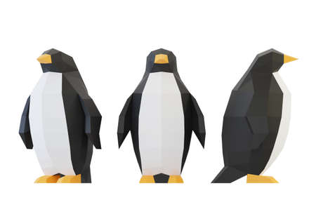 Paper sculpture of a polygonal Penguins, folded paper animal, papercraft, isolated on white, 3d render Stock Photo