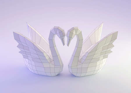 Paper sculpture of a polygonal Swans, folded paper animal, papercraft, two swans love concept, 3d render
