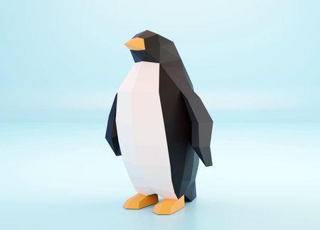 Paper sculpture of a polygonal Penguin, folded paper animal, papercraft, world penguin day, 3d render