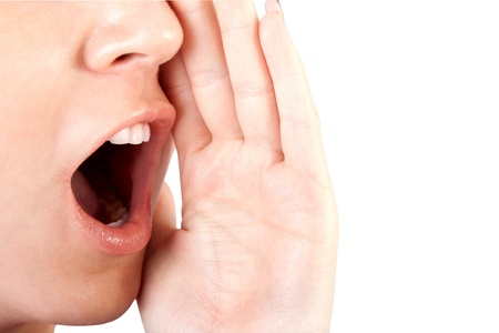 Woman shouting   screaming isolated  photo