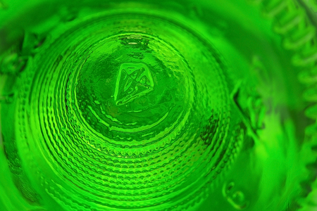 Bottom of glass wine bottle, abstract background, texture Stock Photo