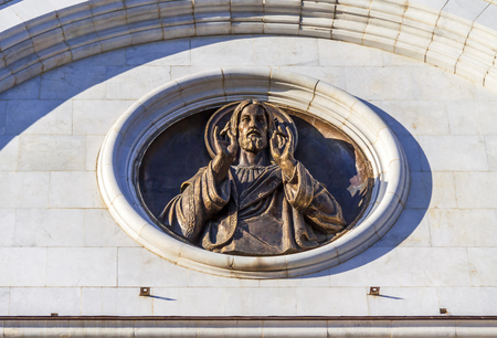 sculptural: The sculptural element on the wall of the temple, depicting Jesus Christ