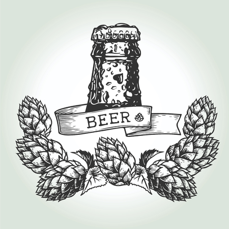 Bottle of fresh beer with water drops, ribbon and wreath of hops on white background, hand-drawing. Vector vintage engraved illustration. Illustration